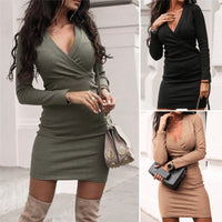 Elegant Fashion Women Long Sleeve Deep V Neck Jumper Dress Ladies Winter Bodycon Slim Short Mini Pencil Dresses Women Dress 2019