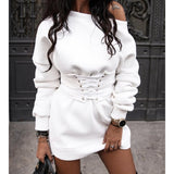 DeRuiLaDy Sexy Women Mini Dress Fall Winter Fashion Casual O Neck High Waist Long Sleeve Lace Up Black White Sweatshirt Dresses