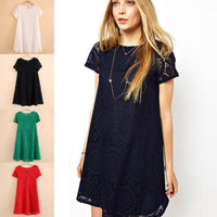 Bohemian Ladies Loose Bottoming Women S-5XL Short Sleeve Hot Dress Vintage Lace Cutout Lace Base O-Neck Loose Solid