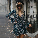 Women Autumn Long Sleeve Sexy Mini Dresses Flower Ladies Casual V-Neck Short Summer Dresses 2020