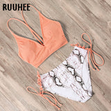 RUUHEE Bikini 2020 Swimsuit Push Up Swimwear Women Bikini Set Leopard Lace Up Backless Female Sexy Biquini High Waist Bikini
