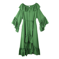 [EAM] Women Green Ruffles Irregular Big Size Shirt Dress New Round Neck Long Sleeve Loose Fit Fashion Spring Summer 2020 1S52206