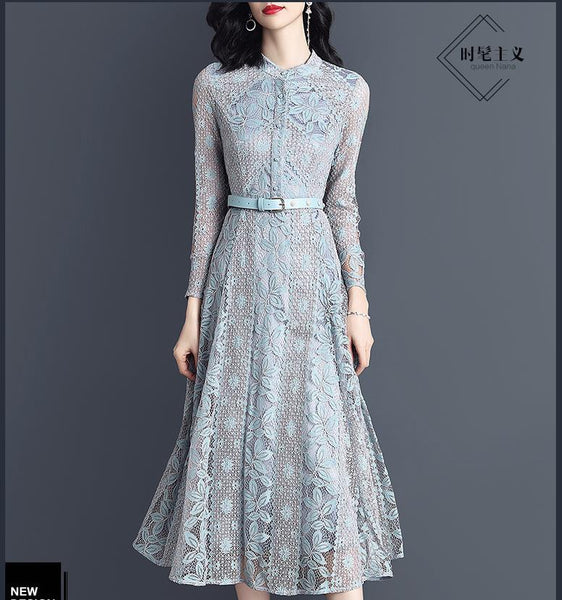 2019 spring dress new high-waisted MIDI dress temperament lady lace dress