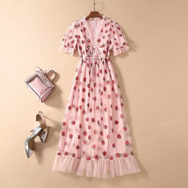 Sexy V-Neck Belt Strawberry Hot stamping Short Sleeve Party Mid-Length Dress Net Yarn Summer New Women'S Clothing