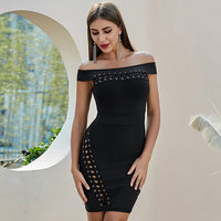 Adyce New Summer Bandage Dress Women Vestidos Black Sexy Off Shoulder Hollow Out Bodycon Club Dress Celebrity Runway Party Dress