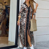 Women Elegant Button Down Long Shirt Dress Summer Chain Print Lapel Neck Party Dress Casual Long Sleeve Maxi Beach Dress Vestido
