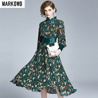 MARKOWO Desinger Brand 2020 Spring and summer new quality printed mid-length skirt round neck pleated big swing dress