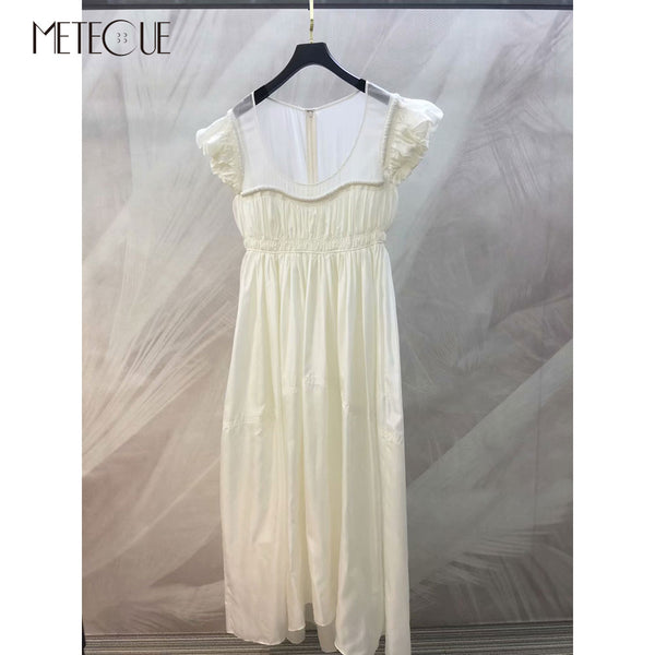 100% Silk White Summer Dress 2020 Spring Summer Fashion Short Sleeve  High Waisted Dress 2020 Summer