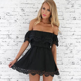 Fashion Women Lace Casual Sleeveless Sexy Mini Evening Above Knee Dresses Women's Summer New Party Solid Color Dress