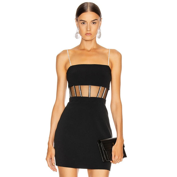 Adyce New Summer Women Lace Mini Bandage Dress Sexy Spaghetti Strap Black Hollow Out Club Celebrity Runway Party Dress Vestidos