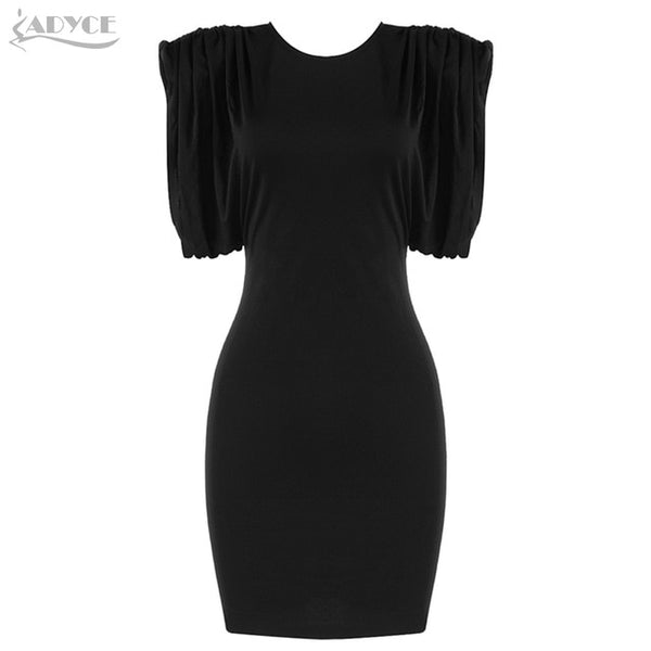 Adyce New Summer Women Fashion Black Bodycon Dress Sexy O Neck Short Sleeve Draped Mini Celebrity Runway Party Dresses Vestidos