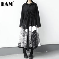 [EAM] Women Black Pattern Printed Drawstring Big Size Dress New Lapel Long Sleeve Loose Fit Fashion Spring Autumn 2020 1DB244