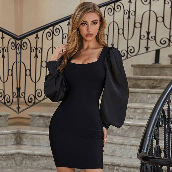 Adyce 2020 New Summer Women Black Puff Long Sleeve Bodycon Bandage Dress Sexy Mini Club Celebrity Runway Party Dresses Vestidos