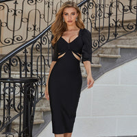 Adyce New Summer Black Mid Sleeve Club Party Bodycon Bandage Dress Vestidos Sexy V Neck Women Hollow Out Celebrity Runway Dress