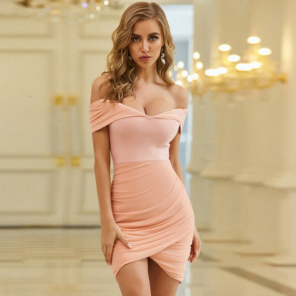 Adyce 2020 New Summer Women Off Shoulder Bodycon Bandage Dress Sexy Strapless Pink Mini Club Evening Runway Party Dress Vestidos