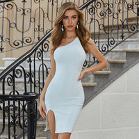 Adyce 2020 New Summer Sleeveless Club Party Bodycon Bandage Dress Sexy One Shoulder Women White Celebrity Runway Dress Vestidos