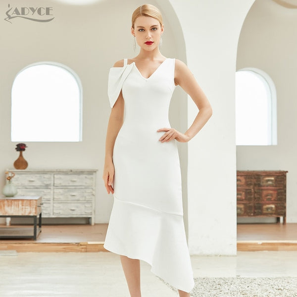 Adyce New Summer Women White Bodycon Bandage Club Dress Sexy V Neck Short Sleeve Mermaid Celebrity Runway Party Dresses Vestidos