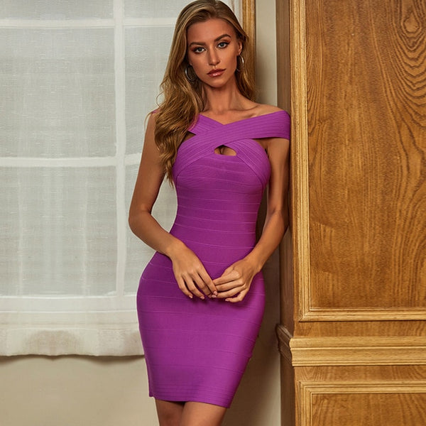 Adyce New Summer Off Shoulder Women Bodycon Bandage Dress Sexy Short Sleeve Violet Celebrity Runway Party Club Dresses Vestidos