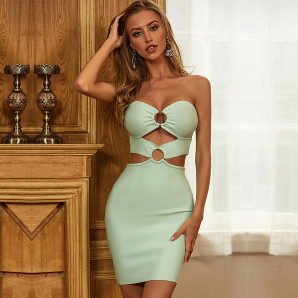 Adyce 2020 New Summer Strapless Club Bandage Dress Women Sexy Hollow Out Sleeveless Bodycon Celebrity Runway Party Dress Vestido