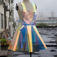Plus Size Clthing 11 colors Rainbow Holographic PVC Overall Dresses Women Rave Clothes Outfits  Skater Circle Dress