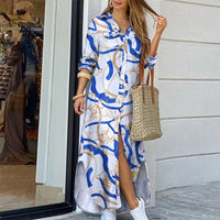 Elegant Turn-down Collar Office Lady Dress Summer Buttons Floral Print Women Dress Sexy Three Quarter Sleeve Long Party Dresses
