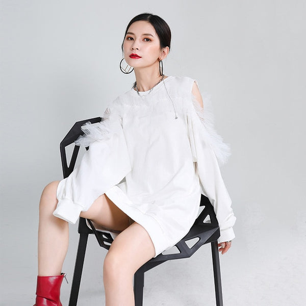 [EAM] Women Black Off Shoulder Mesh  Temperament Dress New Round Neck Long Sleeve Loose Fit Fashion  Spring Autumn 2020 1Z666