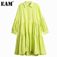 [EAM] Women Rgeen Pleated Split Big Size Shirt Dress New Lapel Long Sleeve Loose Fit Fashion Tide Spring Autumn 2020 1DA140