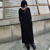 [EAM] Women Black Thin Brief Long Big Size Dress New Round Neck Long Sleeve Loose Fit Fashion Tide Spring Autumn 2020 1DC774