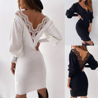 Autumn Dress Sexy Backless Hollow Lace Stitching V-neck Long Sleeve Slim Dress Fashion Lantern Sleeve Bodycon Dresses Femme Robe