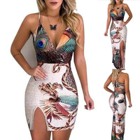 2020 European and American peacock feather print sling print female dress with slit