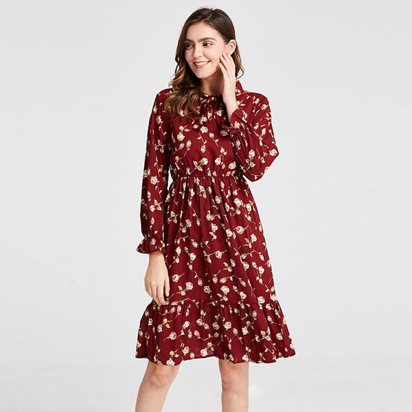 Plus Size Women's Clothing Long Sleeve Chiffon Shirt Dresses For Women Red Bow Floral Club Party Autumn Winter платье 2020 Woman