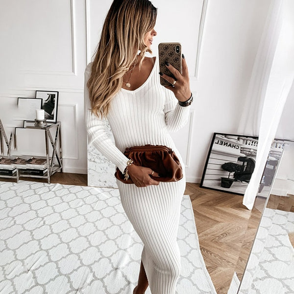 Autumn Knitted Dress V Neck Sexy Slim Elastic White Basic Bodycon Long Dress 2020 Winter Knit Simple Women Dresses Clothes