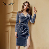 Simplee Wine red v-neck autumn winter pencil split women dress Sexy long sleeve bodycon dress Casual office ladies party dresses