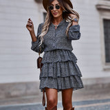 Women Autumn Cascading Ruffle Polka Dot Dress Casual Long Sleeve A Line Print Dress Female Single Breasted Mini Party Vestidos