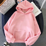 Women Solid Color Oversize Hoodie 2020 Harajuku Plus Velvet Winter Basic Sweatshirt Casual Long Sleeve Thicken Hooded Tops Hoody