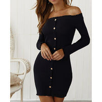 Diiwii Sexy Party Bodycon Dress Women Off Shoulder Long Sleeve Button Package Hip Dresses Spring Autumn knit Mini Dress Female