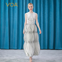 VOA silk 30mm white round neck Sleeveless Black thread arch needle decorative three-dimensional splicing banquet dress AE551