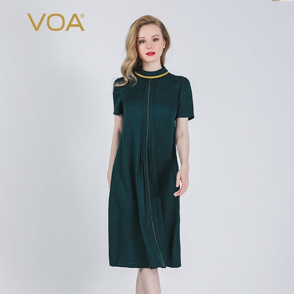 VOA silk 22mm malachite green jacquard half-high collar collision material stitching zipper short-sleeved dress  A10969
