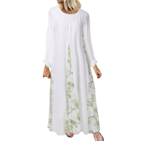 2020 new European fashion large women's dress Muslim digital printing knitting splicing long sleeve Robe