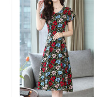 3XL Plus Size short-sleeved Loose Chiffon Dress 2020 New Summer O Neck Print Dresses women's Casual large size dress