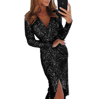 Oufisun Elegant Womens Dress Sexy Deep V-Neck Shiny Sequins Party Dress Long Sleeve Split Sheath Sashes Midi Dresses Vestidos