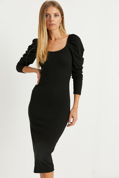 Women's Balloon Sleeves Black Midi Dress