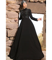 Women's Gem Embroidered Black Evening Dress