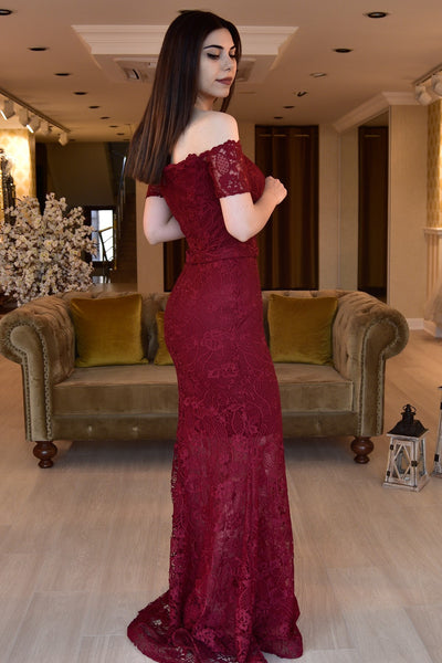 Women's Off Shoulders Claret Red Lace Long Evening Dress