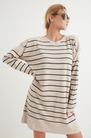 Women's Striped Beige Tricot Tunic / Dress