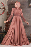 Women's Bead Embroidered Copper Modest Evening Dress