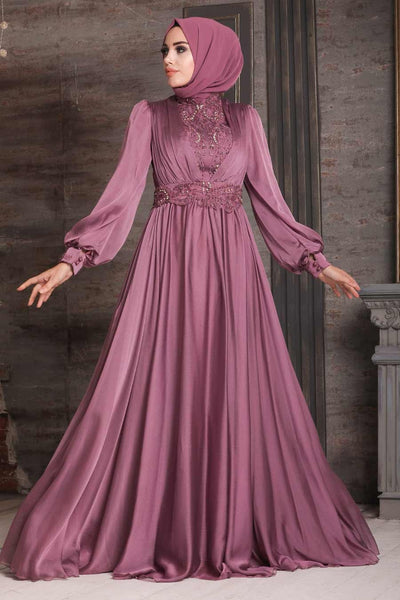 Women's Lace Detail Dusty Rose Modest Evening Dress