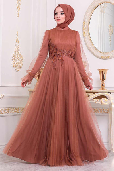 Women's Lace Detail Tile Red Tulle Modest Evening Dress