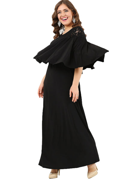 Women's Oversize Long Ruffle Collar Evening Dress