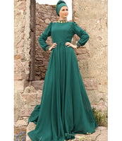 Women's Emerald Green Chiffon Ottoman Evening Dress